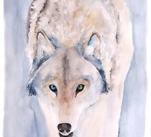 Hunting Wolf Watercolour Painting by gsaundersart