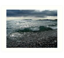 Pic Island in the Waves from Pebble Beach Lake Superior Art Print