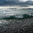 Pic Island in the Waves from Pebble Beach Lake Superior by loralea