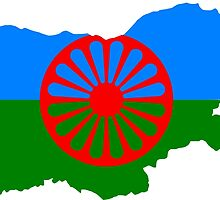 Romani People Flag Map of Bulgaria  by abbeyz71