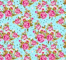 Modern Vintage Girly Pink Elegant Floral Pattern by Maria Fernandes