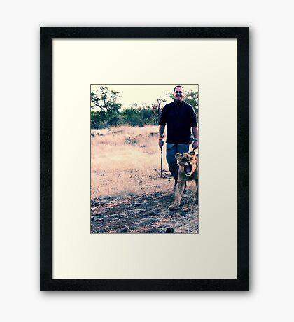 Scott and the Lion - Zimbabwe Framed Print
