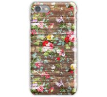 Elegant pink roses floral rustic brown wood iPhone Case/Skin