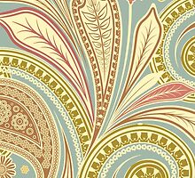 Hipster Girly Paisley Pink Green Floral Pattern by Maria Fernandes