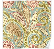 Hipster Girly Paisley Pink Green Floral Pattern Poster