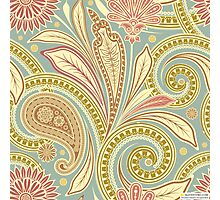 Hipster Girly Paisley Pink Green Floral Pattern Photographic Print