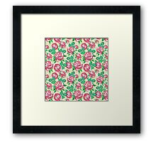Shabby Chic Pink And Green Roses Framed Print
