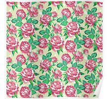 Shabby Chic Pink And Green Roses Poster