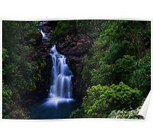 Puohokamoa Waterfalls  in Maui, Hawaii Poster