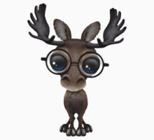 Cute Curious Baby Moose Nerd Wearing Glasses  One Piece - Short Sleeve
