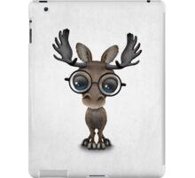Cute Curious Baby Moose Nerd Wearing Glasses  iPad Case/Skin