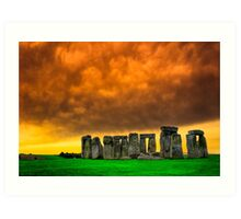 Ancient Plains - Golden Moment at Stonehenge Art Print