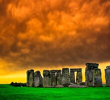 Ancient Plains - Golden Moment at Stonehenge by Mark Tisdale
