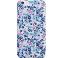 Vintage Blue Pink Cute Roses Floral Pattern iPhone Case/Skin