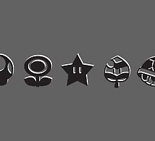 Black mario items (white shadow) by Lauramazing