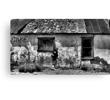 Bus Cafe 2  ( Black and White ) Canvas Print