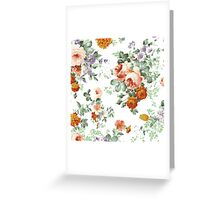 Romantic Red Orange Retro Girly Roses Floral Greeting Card