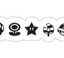 Black mario items (white shadow) Sticker