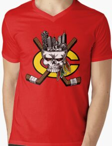 Chicago Blackhawks Skyline Mens V-Neck T-Shirt