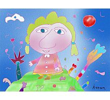 """""""Girl on hill""""-Children Colorful Fantasy Stories Photographic Print"""