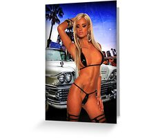 Girl and a vintage car Greeting Card