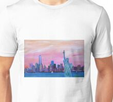 Manhattan Skyline with Statue of Liberty Unisex T-Shirt