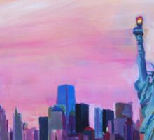 Manhattan Skyline with Statue of Liberty Sticker