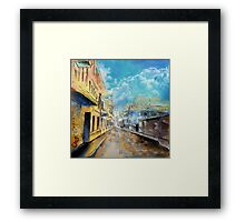 Rainy day watercolor painting Framed Print