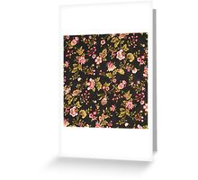 Vintage Pink And Yellow Floral Pattern  Greeting Card