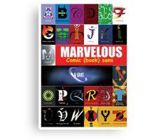 A - Z Iconic Marvelous comic book sans & serifs Charactography  Canvas Print