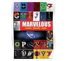 A - Z Iconic Marvelous comic book sans & serifs Charactography  Poster