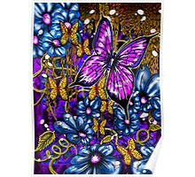 Incense, Blue Daisies & Butterflies Poster
