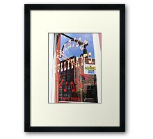 Reflection in window of Patrick Sullivans saloon Framed Print