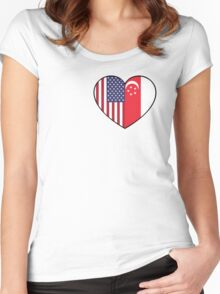 USA & Singapore Women's Fitted Scoop T-Shirt