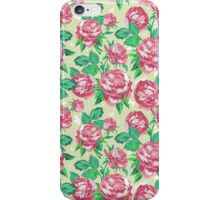 Shabby Chic Pink And Green Roses iPhone Case/Skin