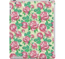 Shabby Chic Pink And Green Roses iPad Case/Skin
