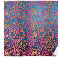 Elegant Colorful Girly Pink Orange Damask Floral Poster