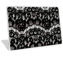 Elegant French Girly Floral Black Lace Laptop Skin