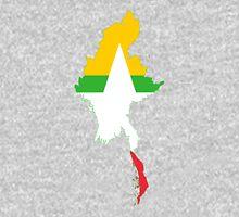 Flag Map of Myanmar  Unisex T-Shirt