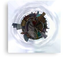 Tiny Planet Manchester Skyline taken from the roof of the Phones 4U Arena Canvas Print