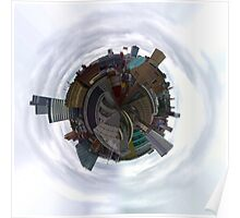 Tiny Planet Manchester Skyline taken from the roof of the Phones 4U Arena Poster