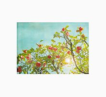Pink Camellia japonica Blossoms and Sun in Blue Sky Unisex T-Shirt