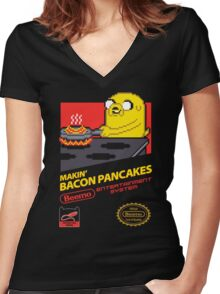 Super Makin' Bacon Pancakes Women's Fitted V-Neck T-Shirt