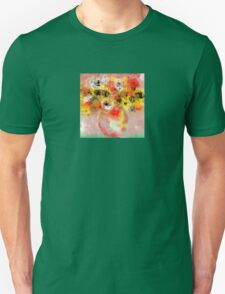 Flowers in Yellow, Red, and White T-Shirt