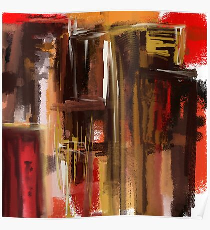 Red and Brown City Abstract Poster