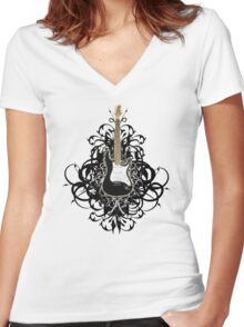 Sexy Black Guitar Women's Fitted V-Neck T-Shirt