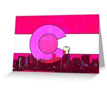 Bright pink Denver Colorado skyline flag Greeting Card