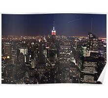 The Manhattan Skyline by Night Poster