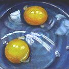 Eggs in Blue Bowl by Joyce