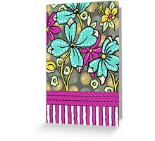 Floral Dreamweaver Pattern Turquoise and Pink Greeting Card